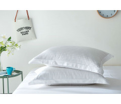 Постельное белье Однотонный страйп-сатин CR001 2 спальный 4 наволочки