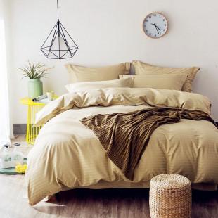 Постельное белье Однотонный страйп-сатин CR004 2 спальный 4 наволочки