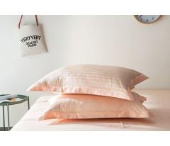 Постельное белье Однотонный страйп-сатин на резинке CFR007 2 спальный 4 наволочки