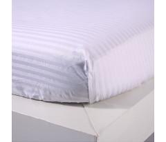 Постельное белье Однотонный страйп-сатин на резинке CFR001 2 спальный 4 наволочки