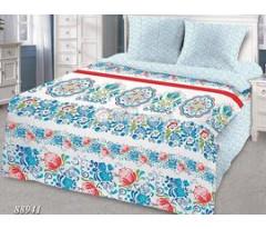 КПБ Грани 88941 голубой цветы узоры
