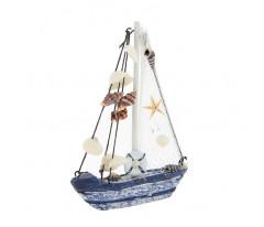 Яхта сувенирная малая, борта сине-белые, парус сетка с ракушками, 14 × 3,5 × 18,5 см